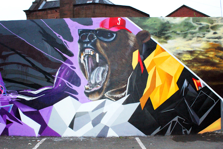 Bear painted by Graffiti Artist Glasgow